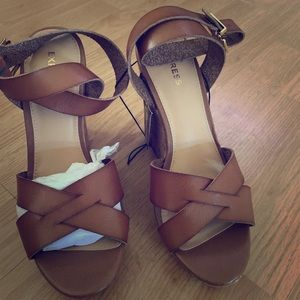 EXPRESS Brown Wedge Sandals